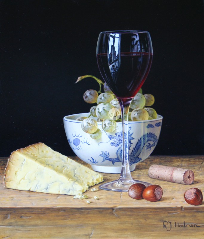 Roy HODRIEN - Red Wine with Stilton and Chinese Bowl