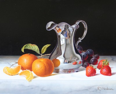 Roy HODRIEN - Silver Jug with Clementines and Strawberries