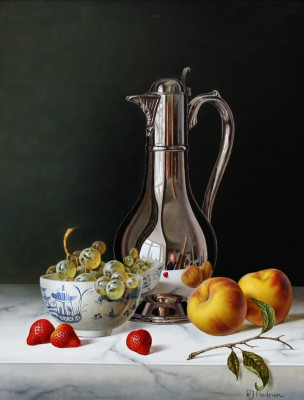 Roy HODRIEN - Silver Flagon with Peaches and Strawberries