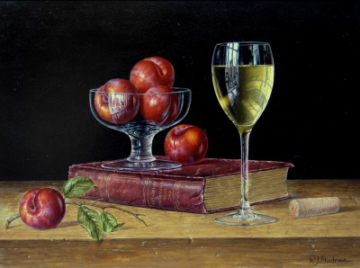British Artist Roy HODRIEN - White Wine with Plums and Book