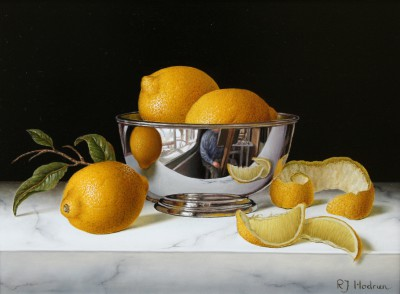 British Artist Roy HODRIEN - Silver Bowl with Lemons