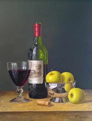 Roy HODRIEN - Chateau Lafite with Apples in a Silver Bowl