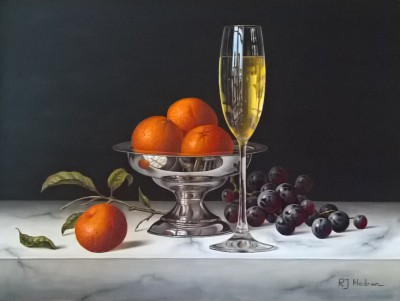 British Artist Roy HODRIEN - Mandarins with Champagne