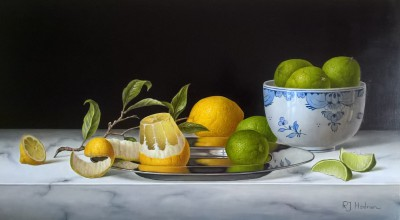 British Artist Roy HODRIEN - Lemons on a silver plate with Limes