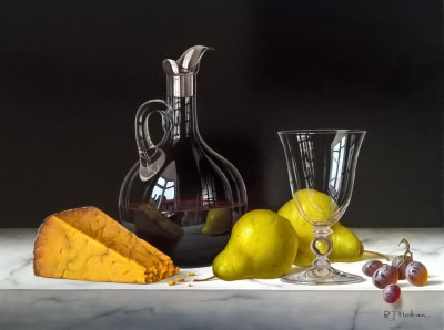 British Artist Roy HODRIEN - Red Wine Decanter with Cheese and Pears