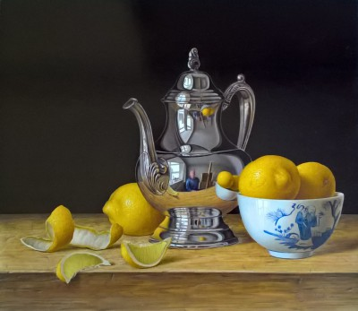 British Artist Roy HODRIEN - Silver Teapot with Lemons