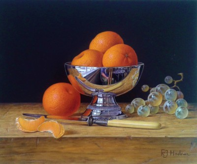 British Artist Roy HODRIEN - Mandarins in a silver bowl with grapes