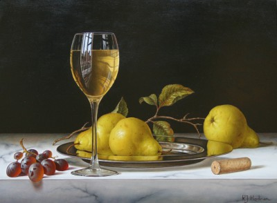British Artist Roy HODRIEN - White Wine with pears and grapes on a silver plate