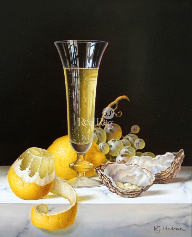 Roy HODRIEN - Champagne with Oysters and Peeled Lemon
