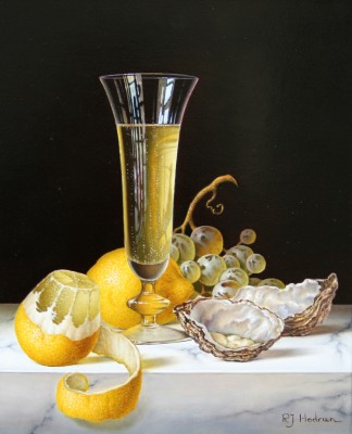 British Artist Roy HODRIEN - Champagne with Oysters and Peeled Lemon