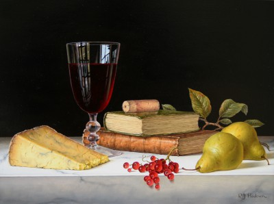 British Artist Roy HODRIEN - Red Wine with Pears and Books