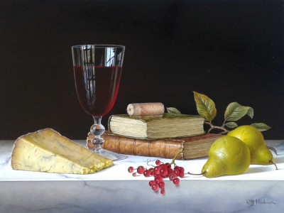'Red Wine with Pears and Books' painting
