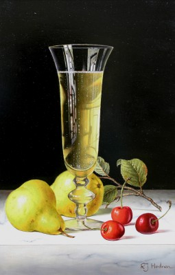 British Artist Roy HODRIEN - Champagne with Pears and Cherries