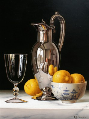 British Artist Roy HODRIEN - Silver Flagon with Lemons in Chinese Bowl