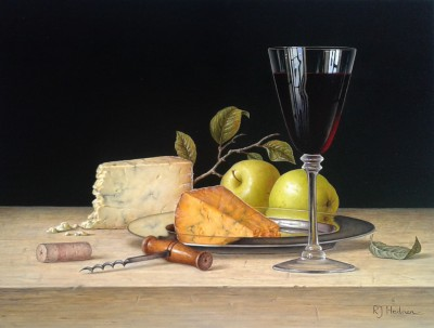 British Artist Roy HODRIEN - Red Wine with Cheese and Apples