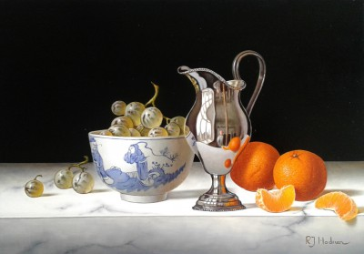 British Artist Roy HODRIEN - Silver Jug with Mandarins and Chinese Bowl