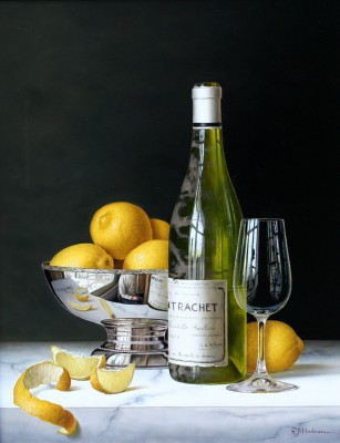 British Artist Roy HODRIEN - Montrachet with Lemons and Silver Bowl