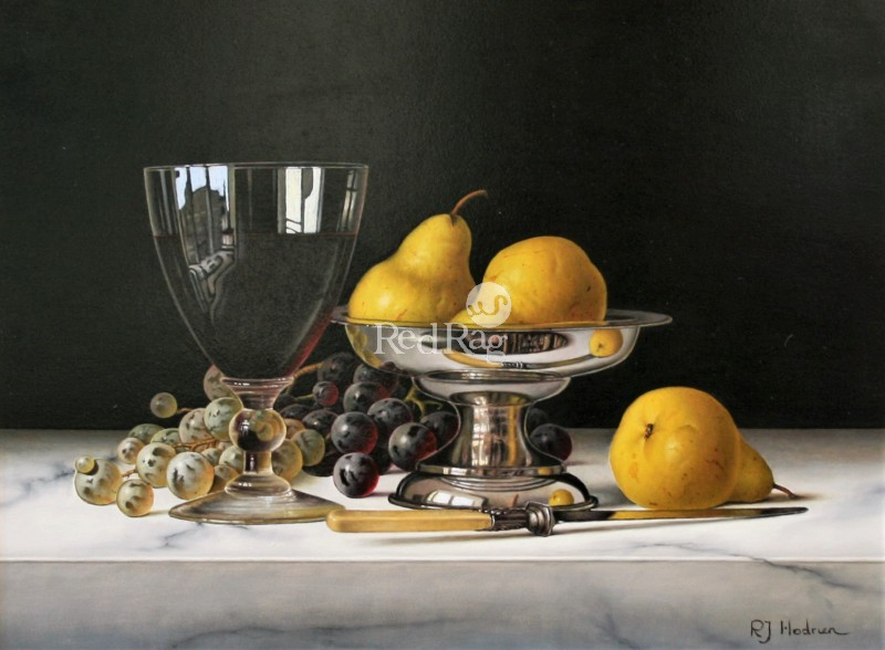 Roy HODRIEN - Pears in a Silver Dish with Red Wine