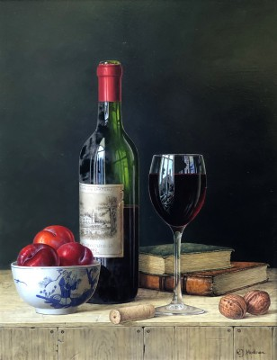 Roy HODRIEN - Chateau Lafite with Plums and Books