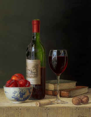 British Artist Roy HODRIEN - Chateau Lafite with Plums and Books