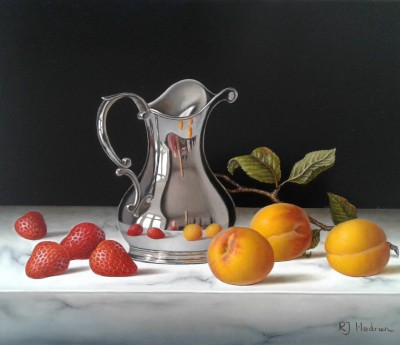 British Artist Roy HODRIEN - Silver Jug with Apricots