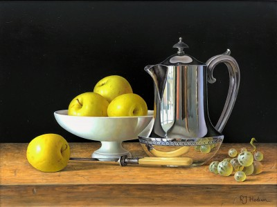 British Artist Roy HODRIEN - Silver Coffee Pot with Apples