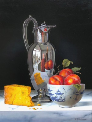 British Artist Roy HODRIEN - Silver Flagon with Plums