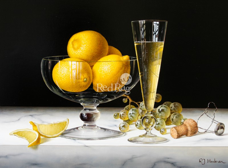 Roy HODRIEN - Champagne with Bowl of Lemons