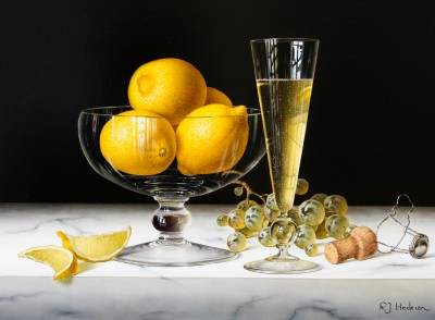 British Artist Roy HODRIEN - Champagne with Bowl of Lemons