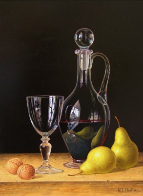 Roy HODRIEN - Decanter of Red Wine with Pears