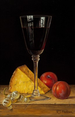 British Artist Roy HODRIEN - Red Wine with Cheese and Plums