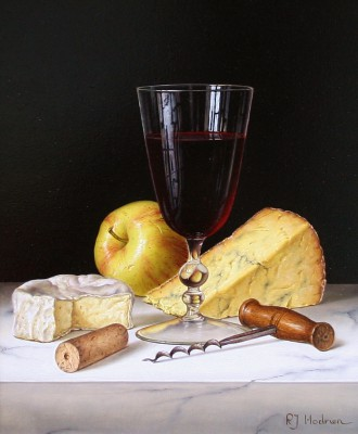 British Artist Roy HODRIEN - Red Wine with Cheeses and Apple