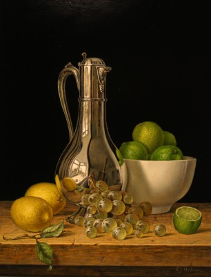 Roy HODRIEN - Silver Flagon with Lemons and Limes