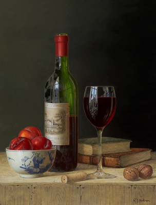 Limited Edition Prints Artist Roy Hodrien - Chateau Lafite with Plums and Books