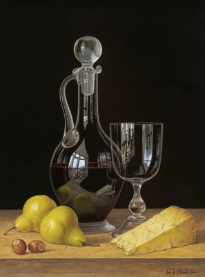 Limited Edition Prints Artist Roy Hodrien - Decanter of Red Wine with Pears