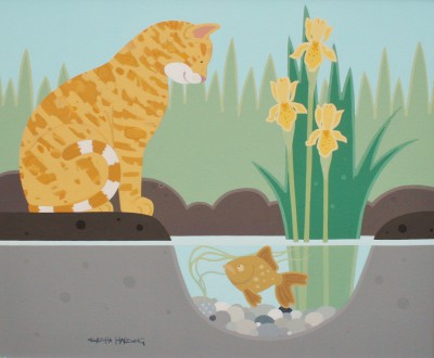 British Artist Sasha HARDING - The Cat and the Gold Fish