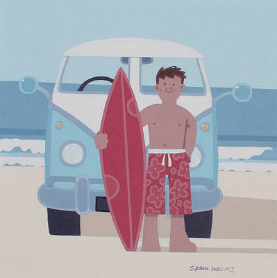 Surfer and VW painting by artist Sasha HARDING