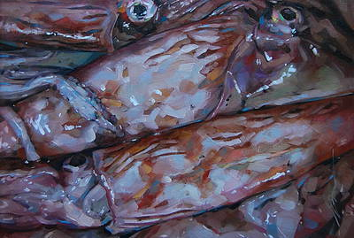 Squid painting by artist Simon DAVIS