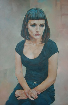 British Artist Simon DAVIS - Young Woman with crossed Hands