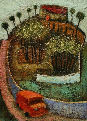 British Artist Simon GARDEN - Red Bus Home