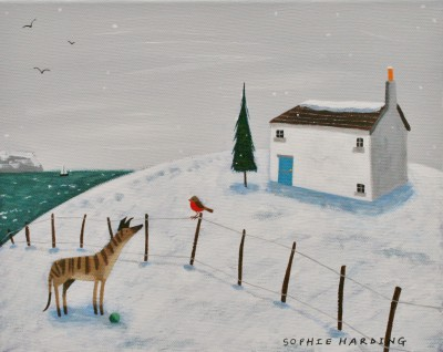 Sophie HARDING - Whippet, Robin and White Cottage