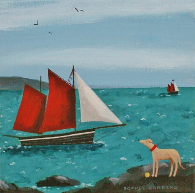 British Artist Sophie HARDING - Whippet, Ball and Boat