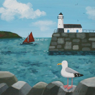 British Artist Sophie HARDING - Seagull, Lighthouse and Red Sails