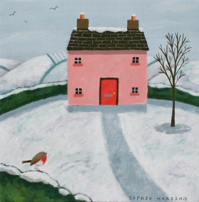 Sophie HARDING - Pink Cottage and Robin