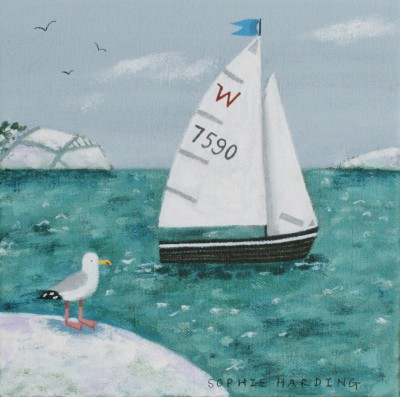Sophie HARDING - Sailing Boat, Snow and Seagull