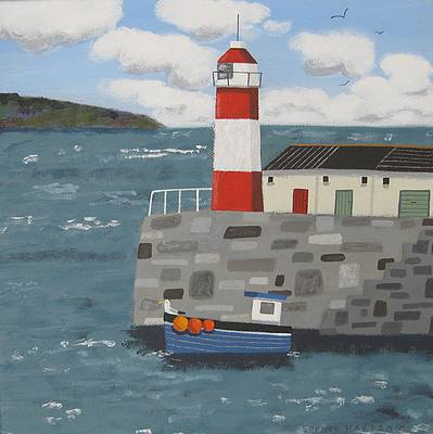 Sophie HARDING - Lighthouse, Blue  Boat and Seagull