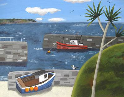 British Artist Sophie HARDING - Boats, Harbour Walls and Palm Tree