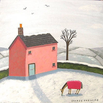 Sophie HARDING - Pink Cottage and Horse