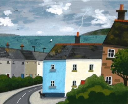 Sophie HARDING - Terraced Cottages and Black Cat