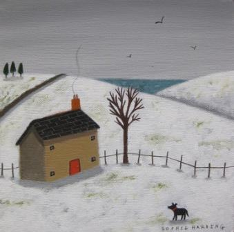 Sophie HARDING - Cottage, Snow and Black Dog